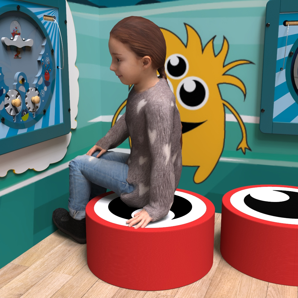 This image shows a soft play Eye aye red