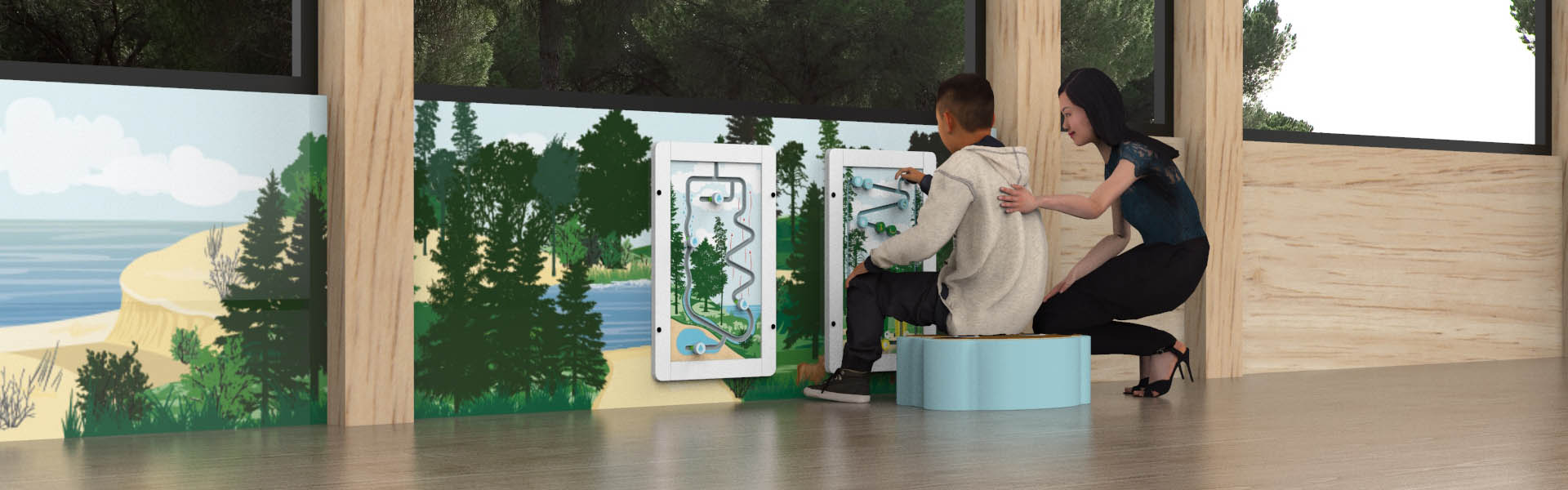 This image shows a boy playing with a educational wall game