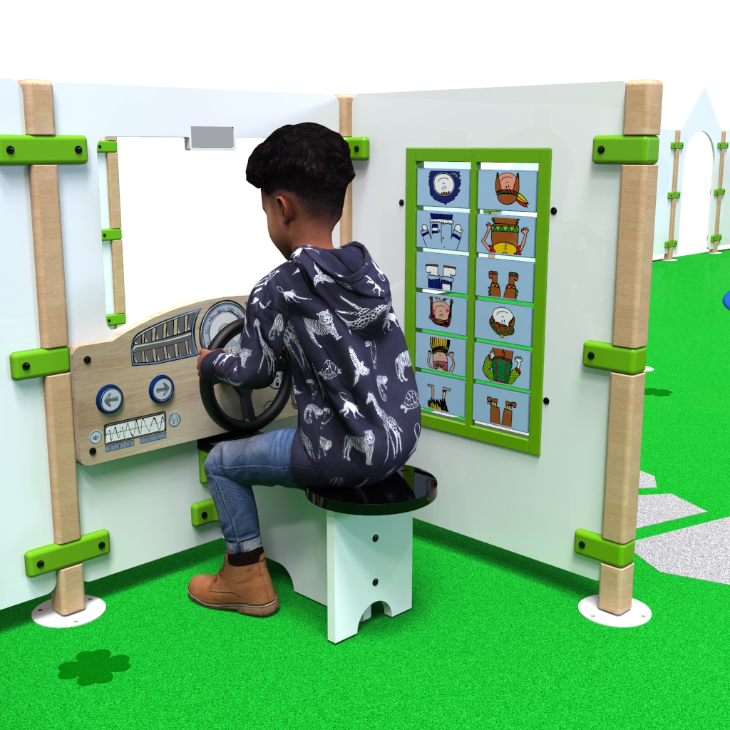 This image shows a child playing with play fence Dashboard