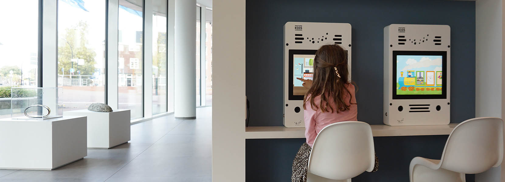 On this image you can see an interactive play system in a public area