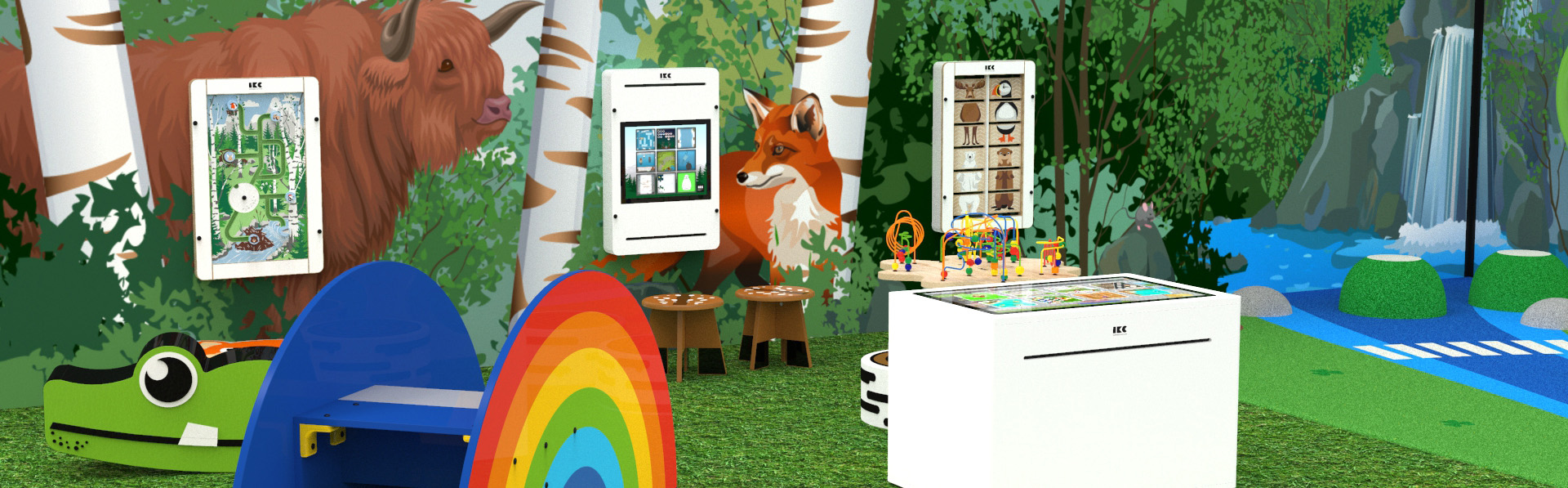 Interactive play systems for children in an IKC play corner