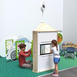 This image shows an interactive play system Playtower touch wood