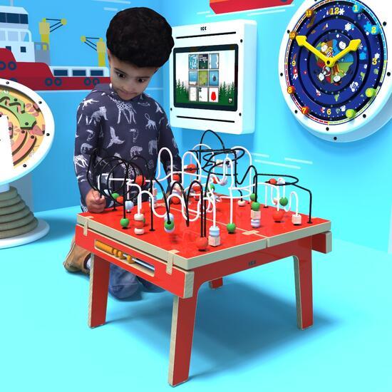 Op deze afbeelding ziet u kindermeubel buxus kralentafel rood