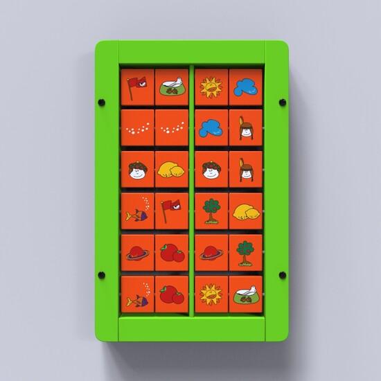 Op deze afbeelding ziet u wandspel Memory groen | IKC wandspellen