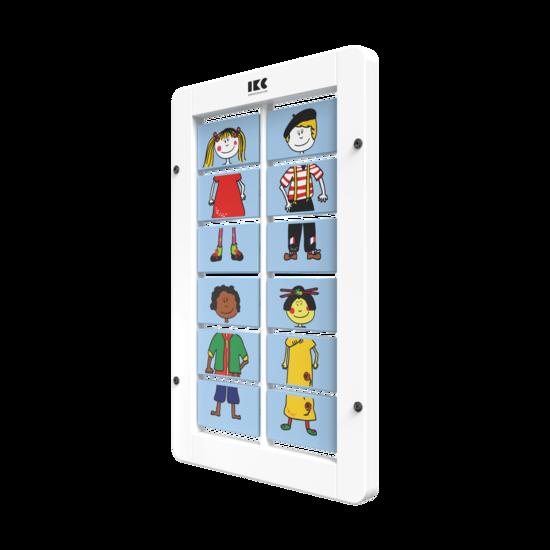 aankleedspel door de blokjes te draaien | IKC wandspellen muurspellen