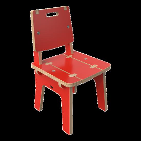 Rode houten stoel voor kinderen   IKC Kindermeubels