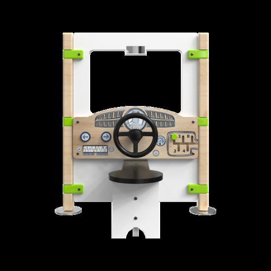 Hekwerk Dashboard is een speelpaneel met daarop een dashboard en stuur | IKC Hekwerken