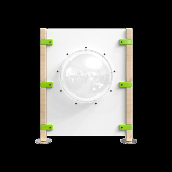 Hekwerk voor een kinderhoek met een dome om door te kijken | IKC Hekwerken