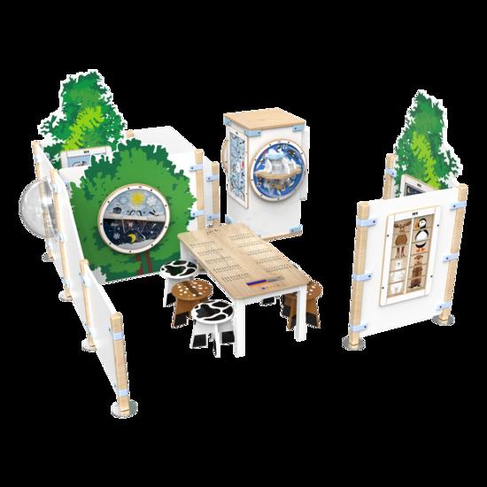 Complete inrichting speelhoek voor kinderen met diverse speelelementen